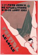 Le Locle Festival,  20è Fête Neuchâteloise De Gymnastique 1931, Illustrateur P. Droz, Litho (8.8.31) - Gimnasia