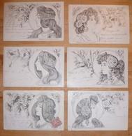 CPA / Lot De 6 Cartes Postales Anciennes / Illustrations / Femmes / Supplément De La Broderie Illustrée 1902 - Illustrators & Photographers