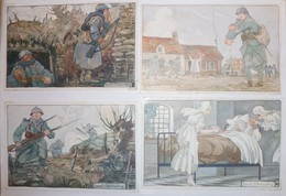 CPA / Lot De 4 Cartes Postales Anciennes / Illustrations / La Journée Du Poilu Par Paul Chambry - Guerre 1914-18
