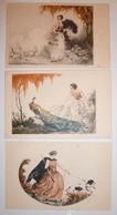 CPA / Lot De 7 Cartes Postales Anciennes / Illustrations / Femmes & Arlequin Dont J. Hardy - Illustrators & Photographers