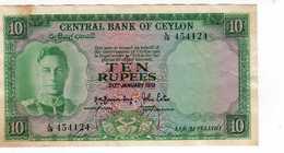Billet De Banque Ceylon Central Bank Of Ceylon 10 Rupees  1951 (rare) --Janv 2020  Clas Gera - Sri Lanka
