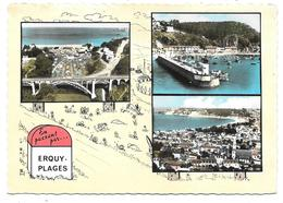 22 - En Passant Par ERQUY PLAGES - Multivues Avec Illustration - éd. SOFER - Escargot, Lapin, Borne Kilométrique - Erquy
