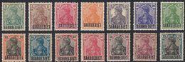 SAAR - SARRE - 1920 - Lotto Composto Da 14 Valori Nuovi MH Yvert  32/45. - 1920-35 Società Delle Nazioni