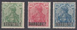 SAAR - SARRE - 1920 - Lotto Comprendente 3 Valori Nuovi Senza Gomma: Yvert 38, 40 E 42. - 1920-35 Società Delle Nazioni