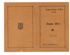 Carte De Membre De L'UNION JEANNE D'ARC LYON -  1933 (O125) - Ex-libris