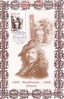 """"""" OEUVRE DE REMBRANDT """" Sur Encart 1er Jour N°té En Soie De 2006 (337/500 Ex). N° YT 3984 Parfait état. - Rembrandt"""