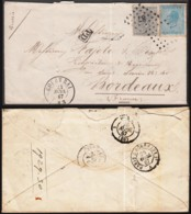 """Belgique- Lettre COB 17/8 De Courtrai 24/04/1867 Vers Bordeaux - Ambulant """"Paris à Bordeaux""""  (RD255)DC5769 - 1865-1866 Linksprofil"""