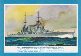 Postcard HMS King George V Battleship Artwork By Bernard Church My Ref  B23934 - Warships