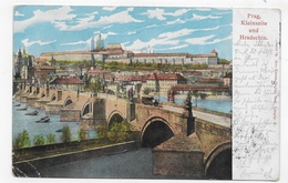(RECTO / VERSO) PRAGUE - PRAG EN 1917 - KLEINSEITE UND HRADSCHIN - PLI ANGLE BAS A GAUCHE - CPA PRECURSEUR VOYAGEE - Czech Republic