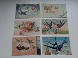 Beau Lot De 20 Cartes Postales De Fantaisie Gaufrées  Gaufrée  Oiseaux Oiseau   Mooi Lot 20 Postk. Fantasie Reliëf Vogel - Cartes Postales