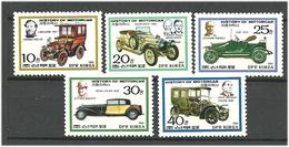 Korea North 1986 History Of Cars, Limousine, Fiat, Bugatti, Renault, Mercedes, Mi 2713-2717 MNH(**) - Corea Del Norte
