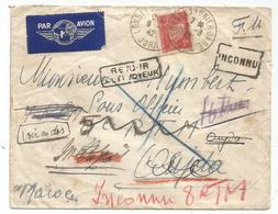 PETAIN 1FR SEUL LETTRE FM AVION LONS SAUNIER GARE 9.3.1942 JURA POUR MAROC + REEXPEDITION - Poststempel (Briefe)