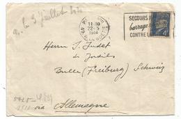 PETAIN 4FR LETTRE MECANIQUE SECOURS NATIONAL BARRAGE NATIONAL CONTRE LA MISERE PARIS VIII 1944 POUR ALLEMAGNE + CENSURE - 1941-42 Pétain
