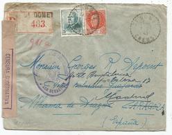 PETAIN N°521+523 LETTRE REC C. PERLE ST DOMET CREUSE 1.7.1943 POUR ESPANA CENSURA GUBERNATIVA - 1941-42 Pétain
