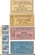 Lot De 7 Bons D'Alimentation - Ticket-Prime Société Normande D'Alimentation: Un Deux Dix Francs - Bonos