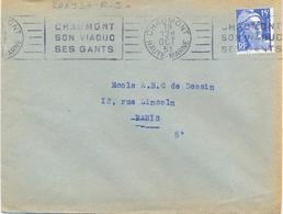 CHAUMONT HAUTE-MARNE OMec RBV 19 OCT 51 BLOC DATEUR 4L …/ SON VIADUC / SES GANTS - Postmark Collection (Covers)