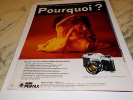 ANCIENNE PUBLICITE APPAREIL PHOTO  ASAHI PENTAX  1972 - Autres