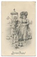 Josef KRAENZLE (1874-1937)  Petite Fille Avec Un Mouton Et Des Poussins - Joyeuses Paques - KRÄNZLE - Art Nouveau - Kraenzle