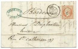 N° 16 NAPOLEON ORANGE SUR LETTRE / ALBI TARN POUR BORDEAUX / 1855 - Marcophilie (Lettres)