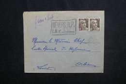 FRANCE - Enveloppe En Recommandé Provisoire De Nevers Pour Orléans En 1946 , Affranchissement Gandon - L 51361 - Marcofilie (Brieven)