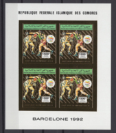 COMOROS 1992. Mi # 1003 B, CV 80€, Imperf, Golden Foil, Sheetlet, Olympics - Estate 1992: Barcellona