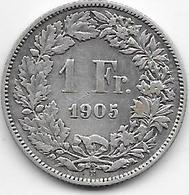Suisse - 1 Franc - 1905 - Argent - Suisse