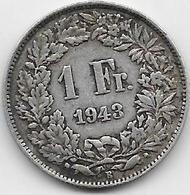 Suisse - 1 Franc - 1943 - Argent - Suisse