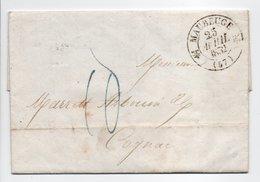 - Lettre MAUBEUGE (Nord) Pour COGNAC 25 AVRIL 1832 - Cachet Type 12, Avec Demi-fleurons - Taxe Manuscrite 10 Décimes - - 1801-1848: Precursors XIX