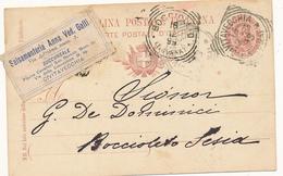 1899 CIVITAVECCHIA TONDO RIQUADRATO CON TESTO + ETICHETTA SALSAMENTERIA ANN VEDOVA GALLI - 1861-78 Victor Emmanuel II