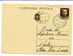 1938 MEZZANA VAL DI SOLE  TRENTO DC AZZURRO - Marcophilie