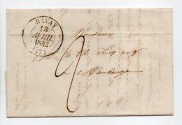 - Lettre BAVAY Pour MAUBEUGE (Nord) 13 AVRIL 1842 - Cachet Type 13, Sans Fleurons - Taxe Manuscrite 2 Décimes - - 1801-1848: Precursors XIX