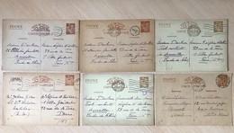 Lot 6 Entiers Postaux 1940 Iris France Marcophilie Oblitérations Seconde Guerre Mondiale - Ganzsachen