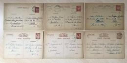 Lot 6 Entiers Postaux 1940-42 Iris Pétain France Marcophilie Oblitérations Seconde Guerre Mondiale - Ganzsachen