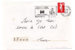 SEINE Et MARNE - Dépt N° 77 = MONTEREAU 1995 =  FLAMME SECAP = OFFICE DE TOURISME / SYNDICAT INITIATIVE / MUSEE FAIENCE - Postmark Collection (Covers)