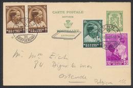 EP Au Type 35ctm Vert Petit Sceau De L'état (réponse) + N°438 X2, 440 Et 447 De Bern 1 (Suisse) Vers Ostende. - Stamped Stationery