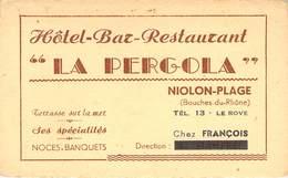 "CPA / CARTE DE VISITE FRANCE 13 ""Niolon Plage, Hotel Restaurant La Pergola"" - France"
