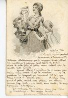 1823. CPA ILLUSTRATEUR ALLEMAND. POST-KARTE. JEUNE FEMME ET ENFANTS 16 FEVRIER 1900 - Ilustradores & Fotógrafos