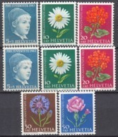 SCHWEIZ  786-788 X, 786-790 Y,  Postfrisch **, Pro Juventute 1963, Wiesen- Und Gartenblumen - Unused Stamps
