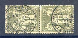France N°72 (paire) Oblitérée 1878 - (F733) - 1876-1878 Sage (Type I)