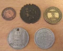 France - 5 Monnaies (millésimes Peu Communs) Dont 2 Cts Napoléon 3 1855 D (Lyon) à L'ancre, Grand D Et Petit Lion - - France