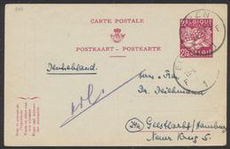 EP Au Type 2F50 Lilas Type Exportation De 3 De Eupen (1953) Vers L'Allemagne. Texte Au Verso - Stamped Stationery
