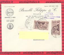St.Post.545 - REPUBBLICA 1954 - Lettera 2°porto Da Pesaro A Novafeltria 16.7.54 - 1946-60: Storia Postale