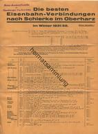 Die Besten Eisenbahn-Verbindungen Nach Schierke Im Oberharz - Fahrplan 1931/32 - Faltblatt - Europe