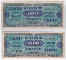 2 BILLETS De 100 FRANCS 1944 - 100 F 1942-1944 ''Descartes''