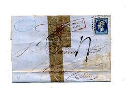 Lettre Cachet Losange  Caen Affrachissement Insuffisant + Voiron  Paris à Lyon - 1849-1876: Période Classique