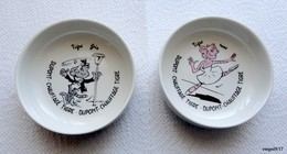2 Anciennes Coupelles (cendriers)  Villeroy & Boch : Publicité Dupont Chauffage Tigre Gris Et Tigre Rose. - Ceramics & Pottery