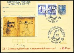 "Italia/Italy/Italie: Intero, Stationery, ""500° Leonardo Da Vinci"", ""500th Leonardo Da Vinci"", ""500e Léonard De Vinci"" - Celebrità"