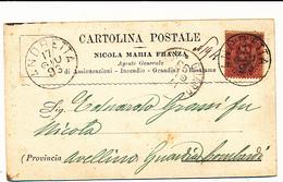 1893  ANDRETTA AVELLINO CARTOLINA COMMERCIALE PUBBLICITARIA ASSICURAZIONI INCENDI GRANDINE BESTIAME - Marcofilía
