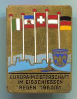 VINTAGE CURLING EISSCHIESSEN EUROPA CUP REGEN 1960/61 ENAMEL PIN BADGE!!! - Wintersport