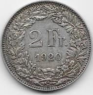 Suisse - 2 Francs - 1920 - Argent - Switzerland